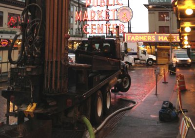 Early morning drilling at one of Seattle's busiest landmarks typically brimming with pedestrians.
